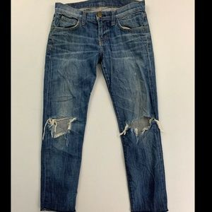Current/Elliott Blue Cropped Roller Low Rise BF Jn